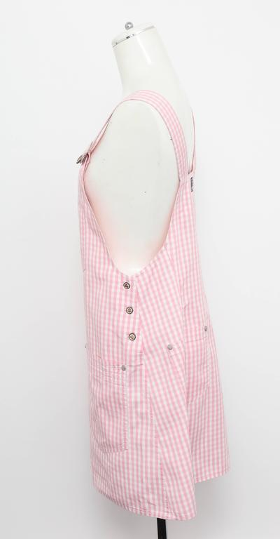 Versace Jeans Couture Pink Plaid Overall Dress with Medusas 7