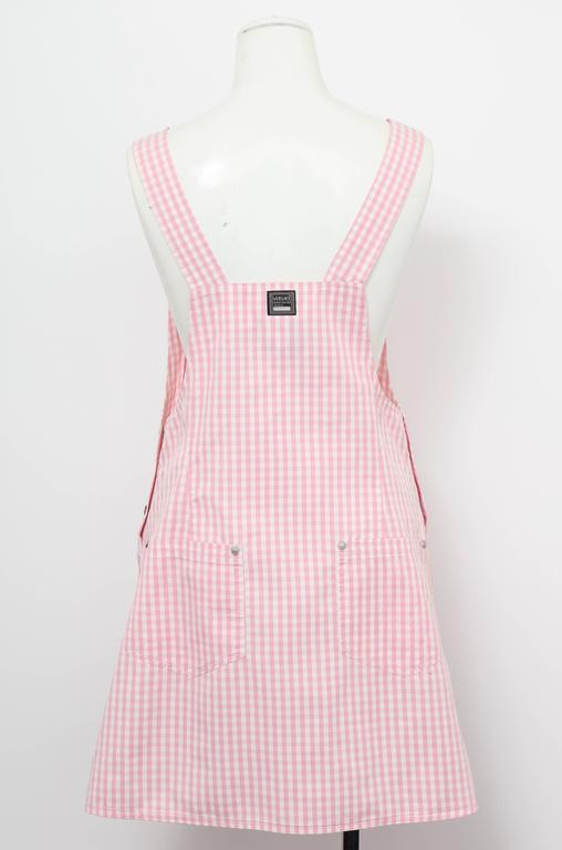 Versace Jeans Couture Pink Plaid Overall Dress with Medusas 8