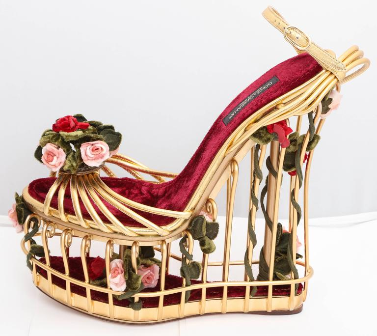 Women's Very rare Dolce & Gabbana Runway Cage Heel Shoes Piece of Art! For Sale