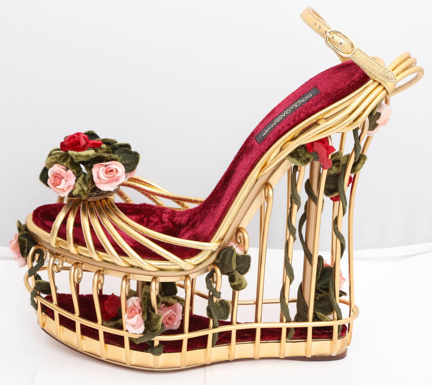 59613ecb68f7 Very rare Dolce and Gabbana Runway Cage Heel Shoes Piece of Art! at 1stdibs