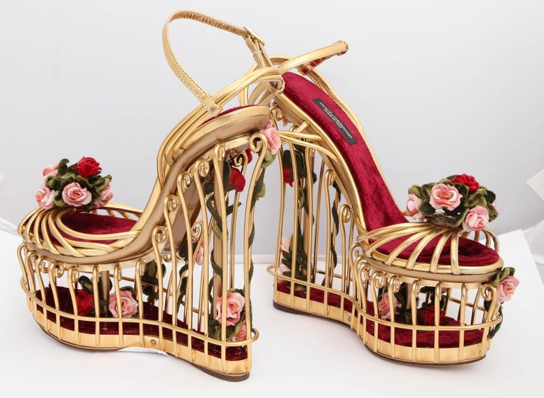 Very rare Dolce & Gabbana Runway Cage Heel Shoes Piece of Art! For Sale 2