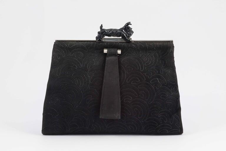 Black Stitched Suede And Chrome Clutch With Bakelite