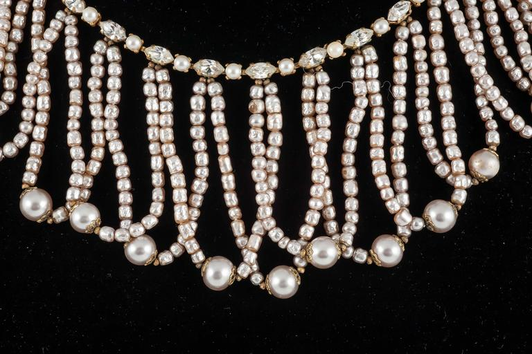 Miriam Haskell Baroque Pearl and paste 'looped' necklace 1950s  2