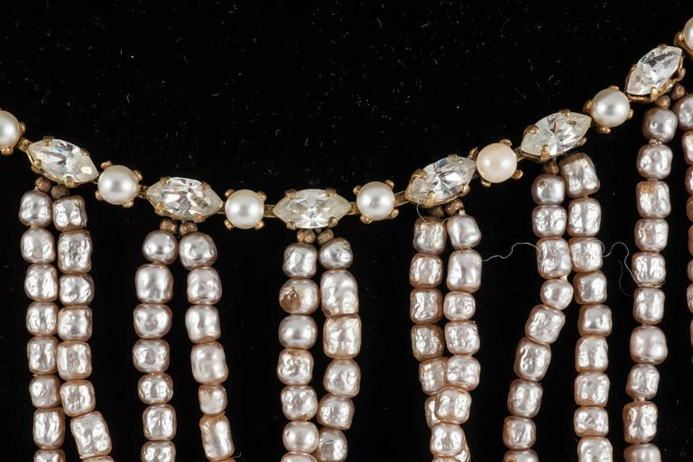 Miriam Haskell Baroque Pearl and paste 'looped' necklace 1950s  3