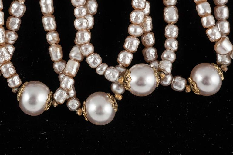Miriam Haskell Baroque Pearl and paste 'looped' necklace 1950s  4
