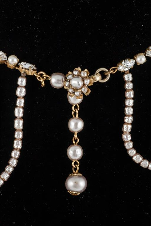 Miriam Haskell Baroque Pearl and paste 'looped' necklace 1950s  5