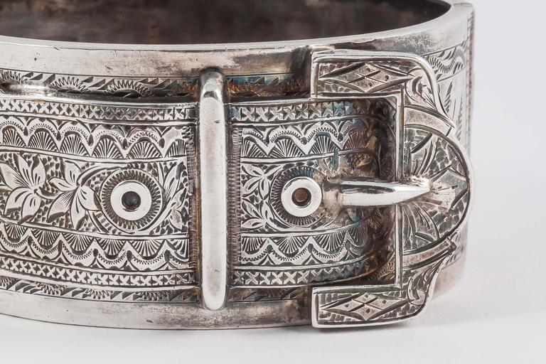 Lovely English Victorian silver buckle cuff bracelet 2
