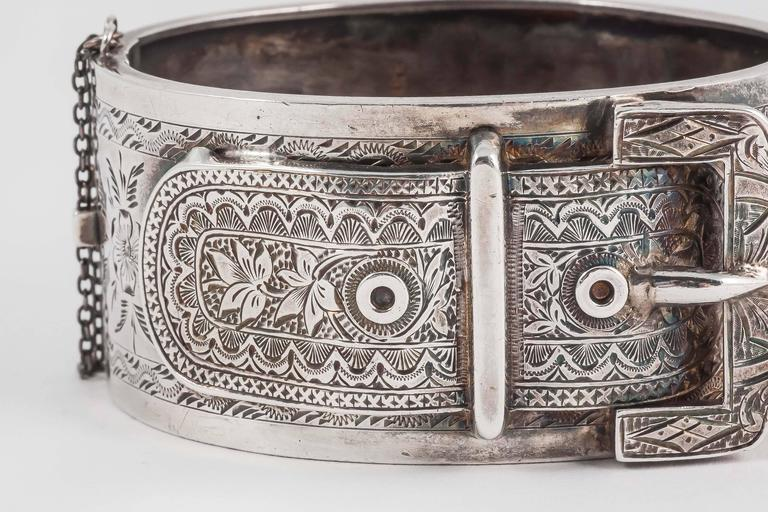 Lovely English Victorian silver buckle cuff bracelet 3