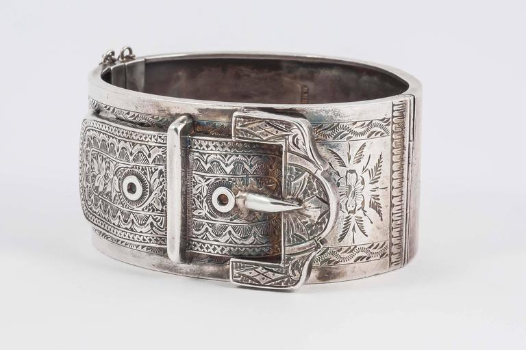 Lovely English Victorian silver buckle cuff bracelet 4