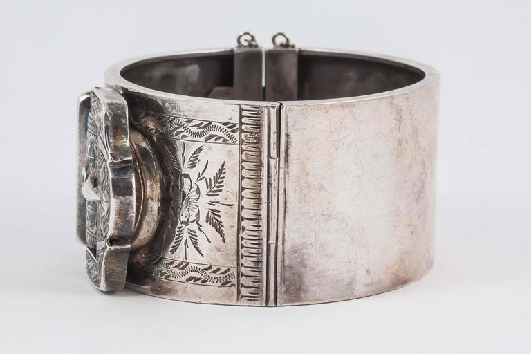 Lovely English Victorian silver buckle cuff bracelet 5