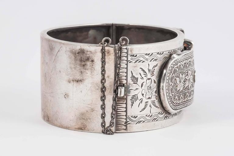 Lovely English Victorian silver buckle cuff bracelet 7