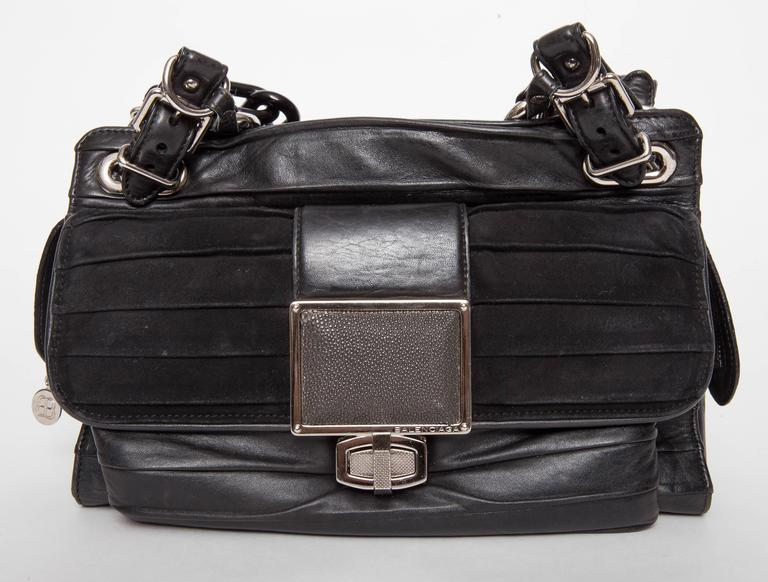 Balenciaga Cherche Midi Crinkle Bag In Black