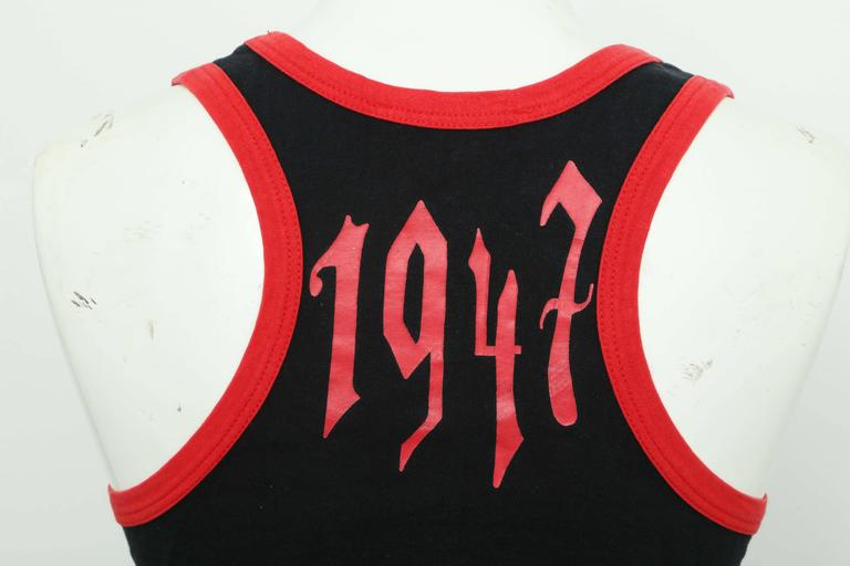 Christian Dior Red/Black Gothic Logo Tank Top T-shirt For Sale 1