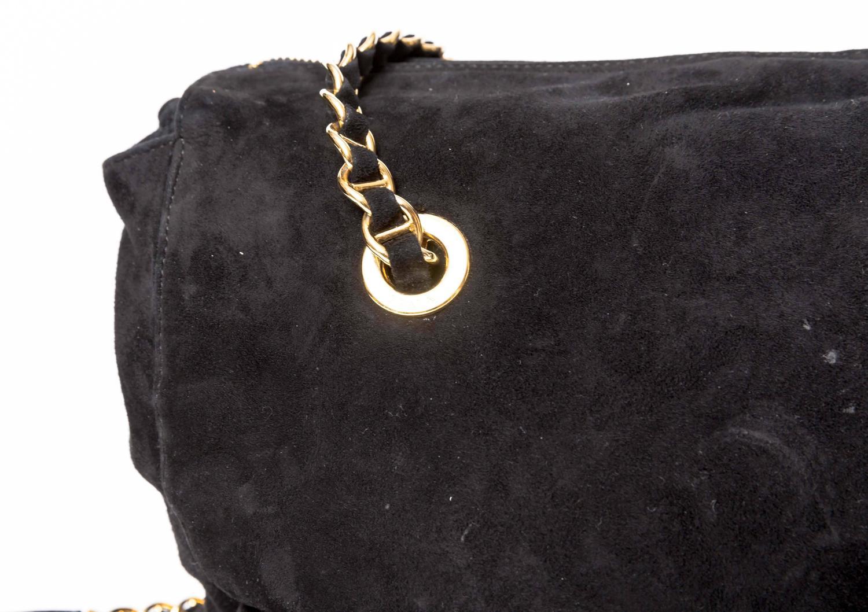 0c0fa41b369a Prada Vintage Black Suede Double Chain Handle Shoulder Bag at 1stdibs