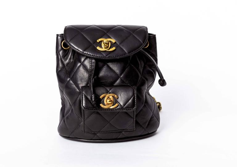 Chanel Vintage Black Quilted Lambskin Leather Mini Backpack Bag 2