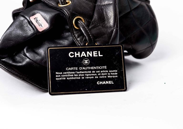 Chanel Vintage Black Quilted Lambskin Leather Mini Backpack Bag 8