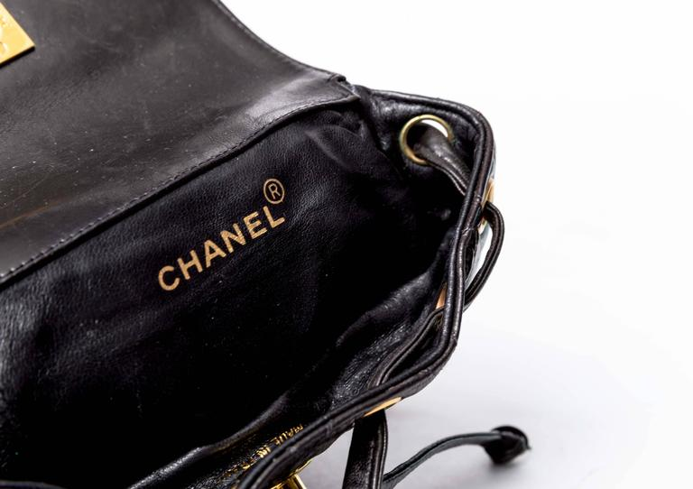 Chanel Vintage Black Quilted Lambskin Leather Mini Backpack Bag 10