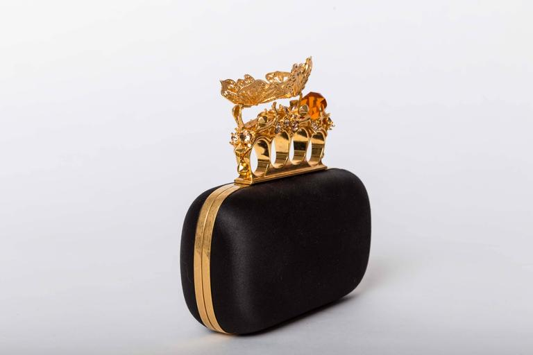 Black Alexander McQueen Butterfly Knuckle-Duster Box Clutch Bag For Sale