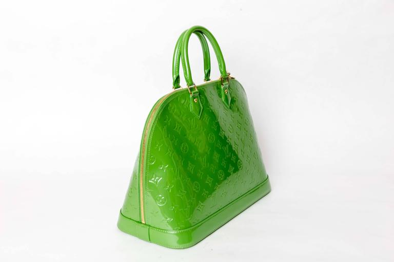 Louis Vuitton Alma Monogram Vernis Gm Satchel in Pale Green 3