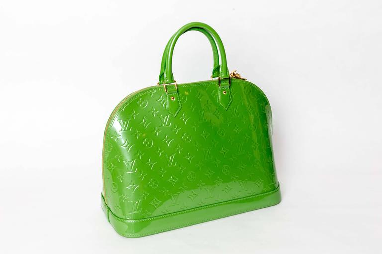 Louis Vuitton Alma Monogram Vernis Gm Satchel in Pale Green 4