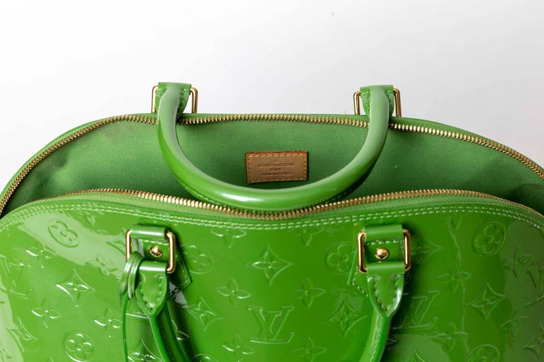 Louis Vuitton Alma Monogram Vernis Gm Satchel in Pale Green 7