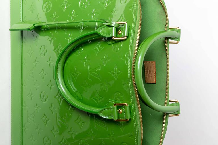 Louis Vuitton Alma Monogram Vernis Gm Satchel in Pale Green 8