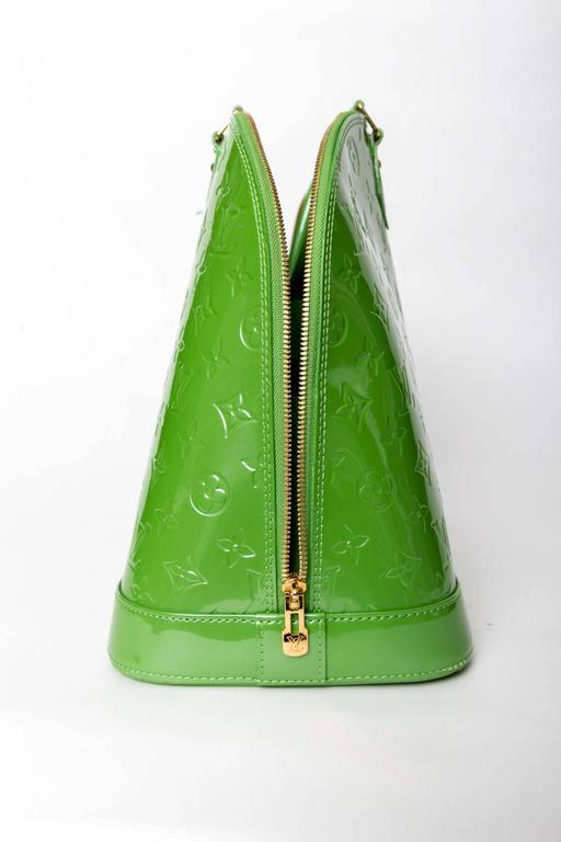 Louis Vuitton Alma Monogram Vernis Gm Satchel in Pale Green 10