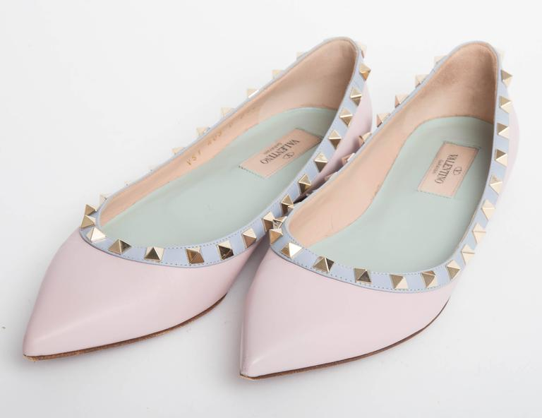Valentino Rockstud Leather Ballet Flats in Blush EU 371/2. 2