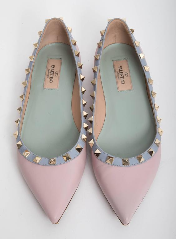 Valentino Rockstud Leather Ballet Flats in Blush EU 371/2. 5