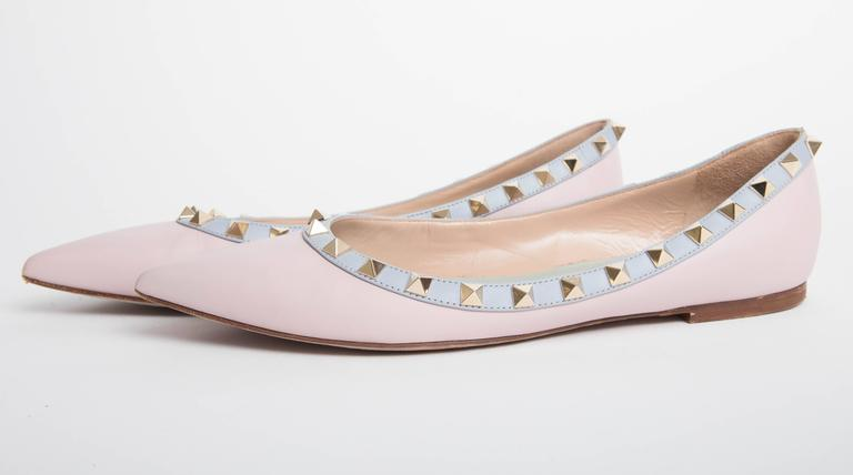 Valentino Rockstud Leather Ballet Flats in Blush EU 371/2. 6