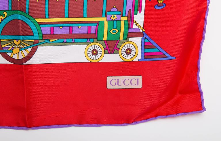 Gray Vintage Gucci Silk Circus Collection Scarf With Red Border For Sale