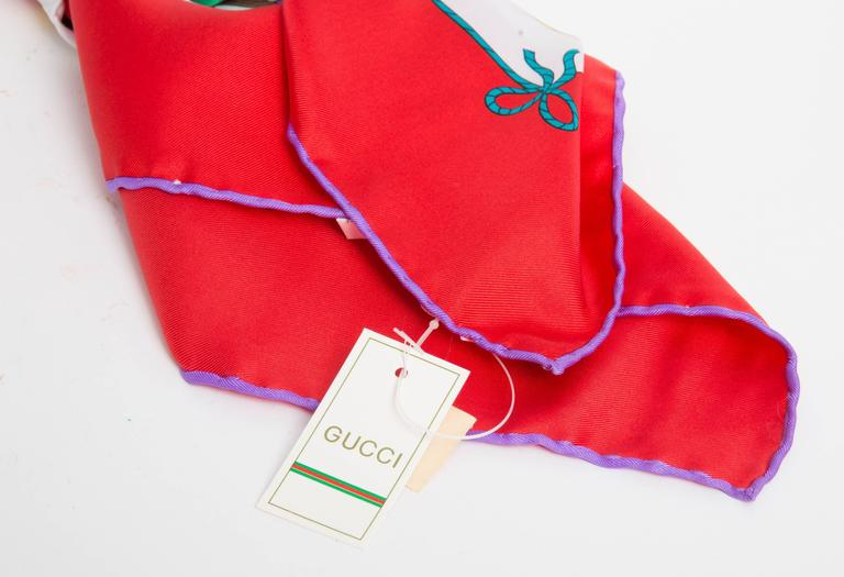 Vintage Gucci Silk Circus Collection Scarf With Red Border In New Condition For Sale In Westhampton Beach, NY