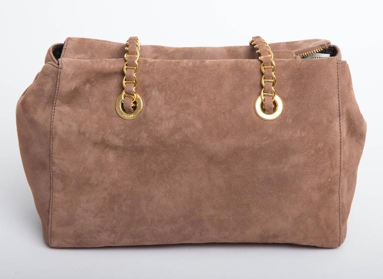 501c73001235 Prada Vintage Suede Double Chain Handle Shoulder Bag at 1stdibs