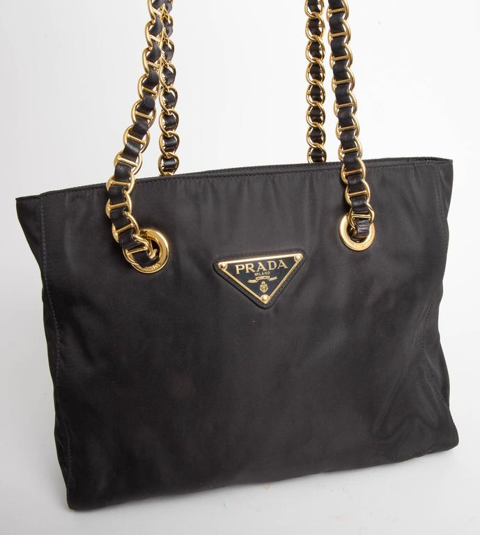 Prada Vintage Black Nylon Double Chain Handle Shoulder Bag In Excellent Condition For Westhampton