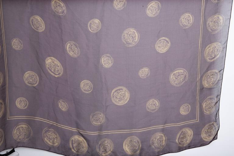 Vintage Gucci Gold Coins Silk Scarf  3