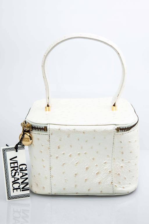 Beige Versace White Faux Ostrich Vanity Case Bag