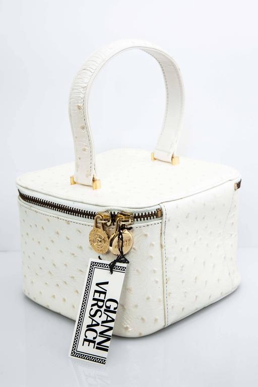 Versace White Faux Ostrich Vanity Case Bag In New Condition In Chicago, IL