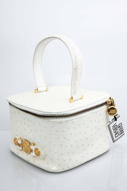 Women's Versace White Faux Ostrich Vanity Case Bag