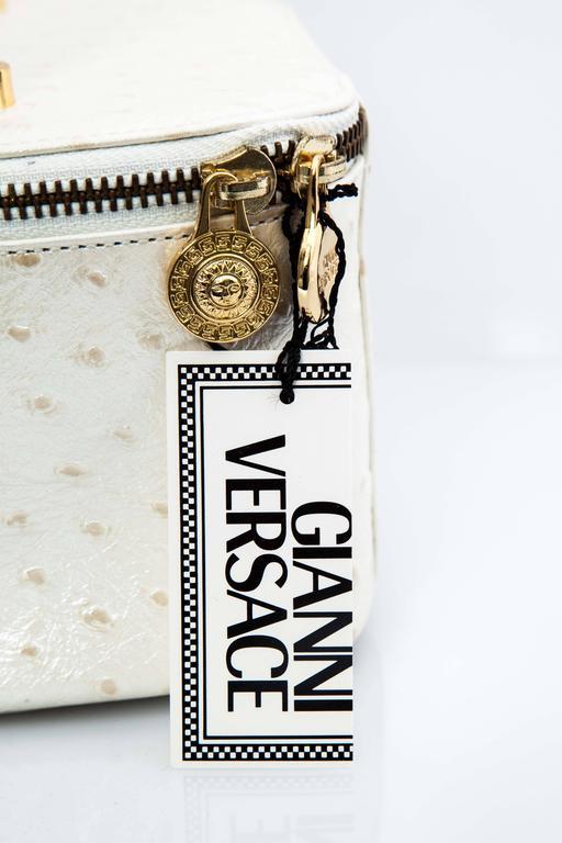 Versace White Faux Ostrich Vanity Case Bag 2