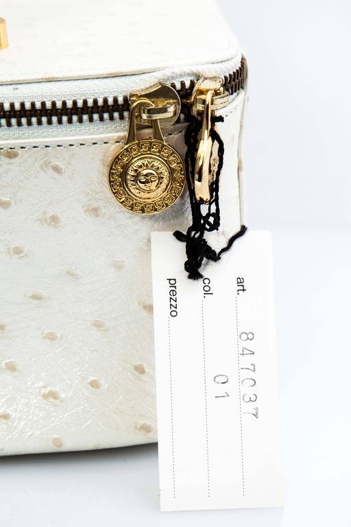 Versace White Faux Ostrich Vanity Case Bag 3
