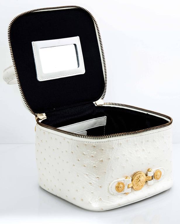 Versace White Faux Ostrich Vanity Case Bag 4