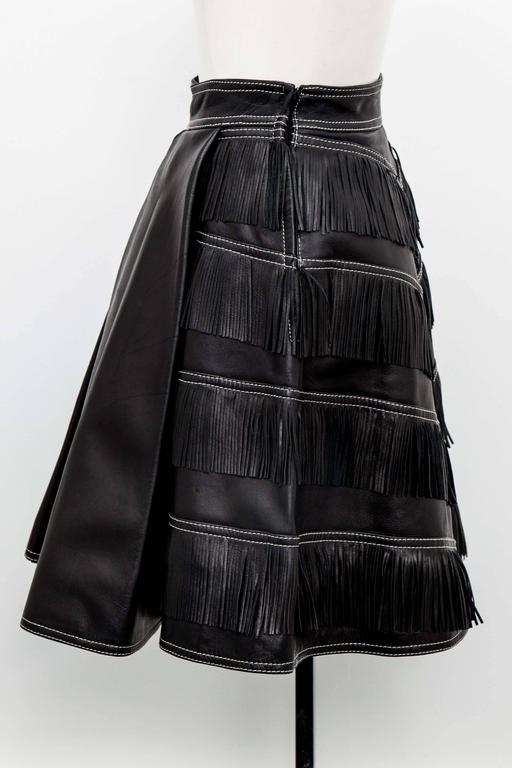 Gianni Versace Iconic 1992 Runway Black Leather Fringe Skirt In Excellent Condition For Sale In New York, NY