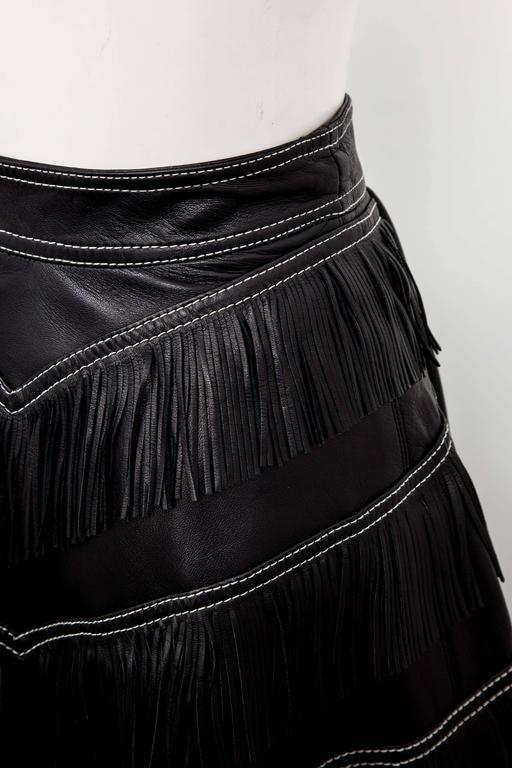 Women's Gianni Versace Iconic 1992 Runway Black Leather Fringe Skirt For Sale