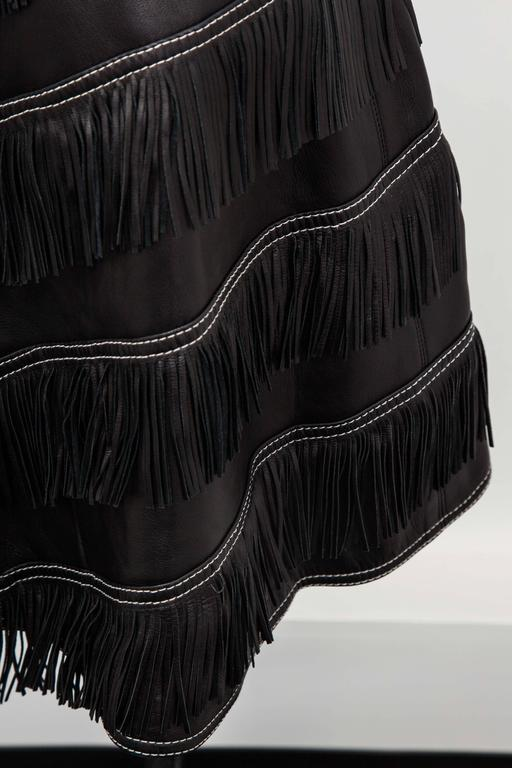 Gianni Versace Iconic 1992 Runway Black Leather Fringe Skirt For Sale 1