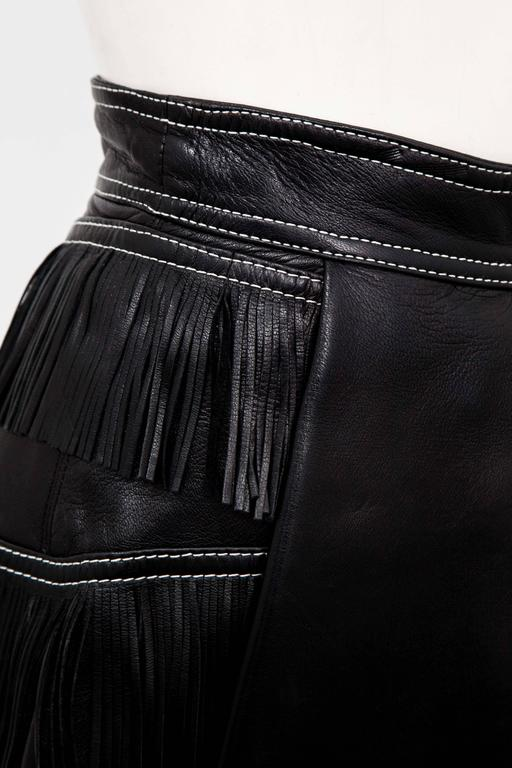 Gianni Versace Iconic 1992 Runway Black Leather Fringe Skirt For Sale 2