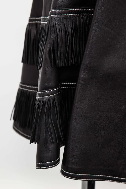 Gianni Versace Iconic 1992 Runway Black Leather Fringe Skirt For Sale 3
