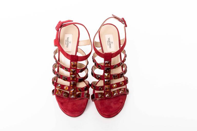 Valentino Red Suede Crystal Studded Platform Sandals For Sale 3