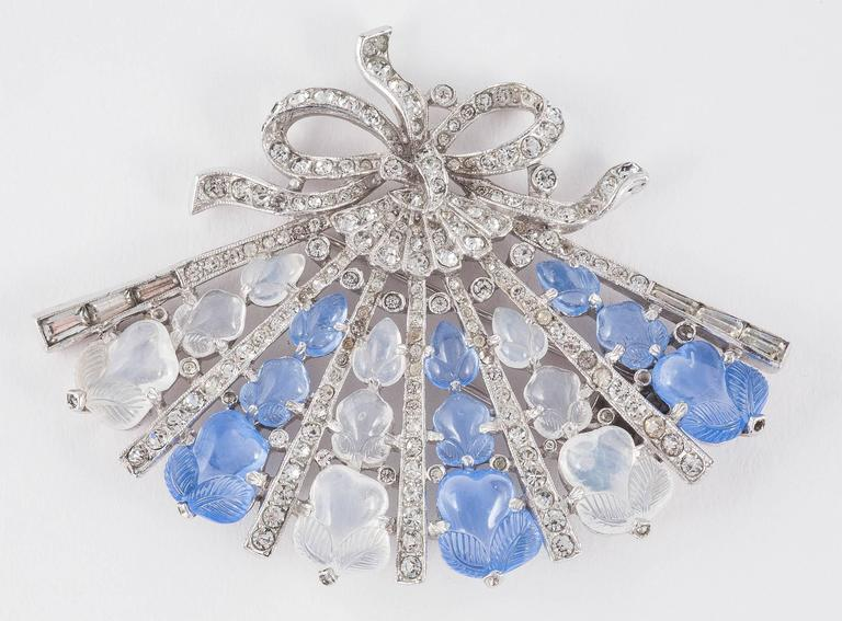 Fabulous Trifari 'tutti frutti' blue chrysoprase and moonstone moulded glass and rhodium plated 'fan' brooch , of the highest quality and craftsmanship that came from Trifari, the exquisite and timeless design of Alfred Philippe. A series of other