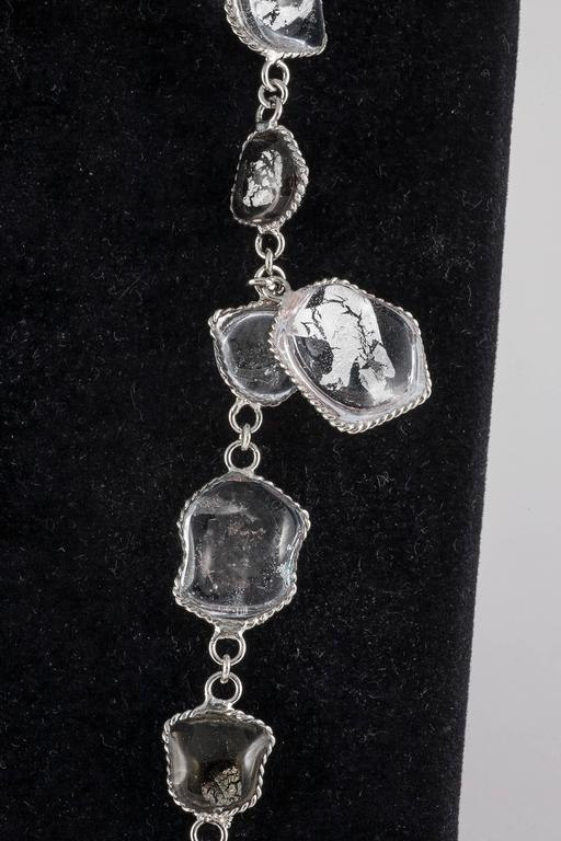 Women's WW silver leaf and poured glass long sautoir For Sale