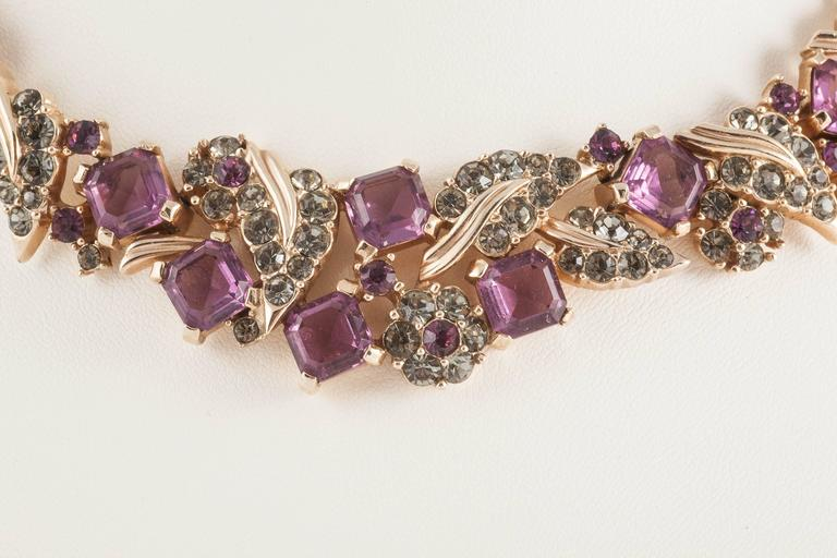 Marcel Boucher deep amethyst square cut/grey paste necklace and earrings In Excellent Condition For Sale In London, GB
